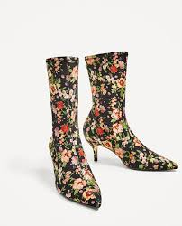 zara canada s boots image 3 of floral fabric high heel ankle boots from zara fashion
