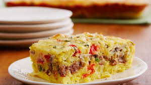 egg strata casserole cheesy sausage and egg bake recipe bettycrocker com