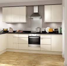 Independent Kitchen Designers by Wickes Stocked Madison Cream High Gloss Handleless Kitchen