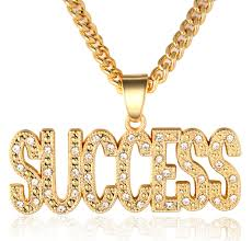 gold letter pendant necklace images In gold we trust quot men 39 s 18k real gold plated success letter jpg