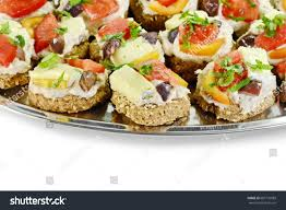 pate canapes delicious appetizer canapes pheasant pate cheese stock photo