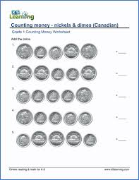 grade 1 math worksheet counting money nickels and dimes