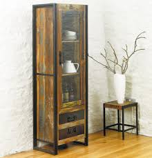 display cabinet glass doors industrial wood and metal combo tall narrow display cabinet with 2