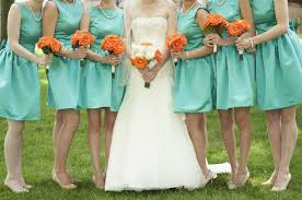 wedding bouquets with teal dresses kristen kevin evergreen