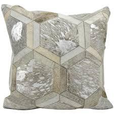 Metallic Cowhide Pillow Mina Victory Metallic Hexagon White Silver 20 X 20 Inch Throw