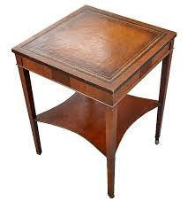 faux leather top end table ebth