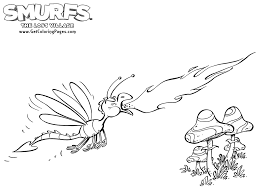 smurfs the lost village coloring page spitfire and mushrooms get