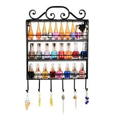 black metal wall mounted 3 shelf 6 hanger hooks nail polish holder