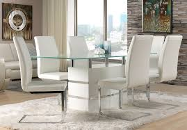 Dining Room Tables White Altair 7 Piece Dining Room Set White Leon U0027s