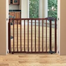Child Gates For Stairs With Banisters Dark Wood Baby Gates You U0027ll Love Wayfair
