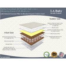 la baby baby essentials iii breath safe 2 in 1 memory foam crib