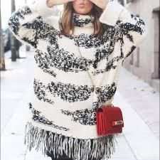 black fringe sweater zara hp nwt zara black white fringe poncho sweater from