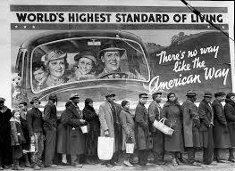 african americans wait in line for food relief during the great