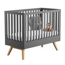 chambre bébé grise et lit bébé 140 nature gris vox