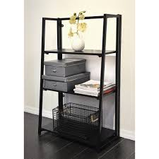 urban shop folding bookshelf black walmart com