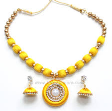 yellow necklace set images Silk thread necklace set in beautiful hot pink jpg