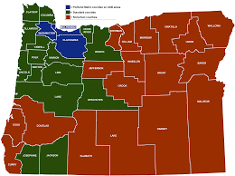 Oregon Map Us by Minimum Wage Rate Summary