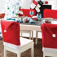 santa chair covers 6pcs christmas santa claus chair cover fabric santa hat christmas
