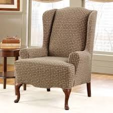 wingback chair slipcovers sure fit slipcovers stretch chevron wing chair slipcover wing