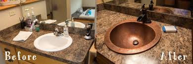 copper bathroom faucet before and after a copper bathroom duet sinkology