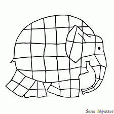 Coloriage Elmer léléphant multicolore  Sans Dépasser