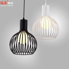 Birdcage Pendant Light Chandelier Single White And Black Wrought Iron Bird Cage L Modern