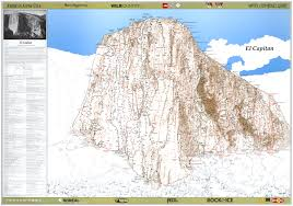 Yosemite Park Map El Capitan Climbing Maps Poster Diamond Productions