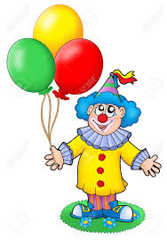 cute clown with balloons color illustration stock photo