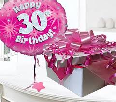 30th birthday flowers and balloons happy 30th birthday balloon in a box code jgf30h30bb 30 year