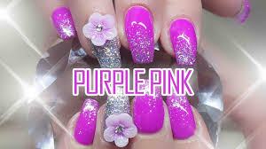 acrylic nails with gel polish purple pink youtube
