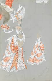 a bill campbell costume design drawing of an orange southern