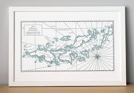 St Thomas Virgin Islands Map Virgin Islands Map Print Dark Grey Quail Lane Press