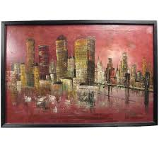 mid century modern acrylic painting of city skyline signed march for