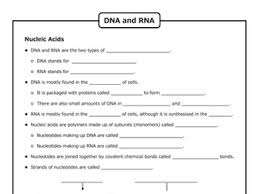 dna and rna structure by goodscienceworksheets teaching