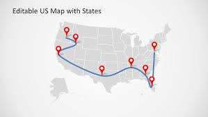 Us Maps With States Editable Us Powerpoint Map With States And Map Pointers Slidemodel