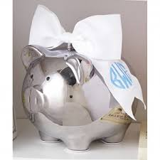 personalized silver piggy bank baby personalized