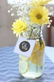 easy centerpieces gray yellow baby shower decorating ideas easy centerpieces with