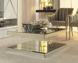 mirrored glass coffee table square mirrored coffee table bed and shower elegant touch