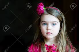 flower hairband child girl with flower headband on a background stock