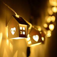battery powered house lights 2 5m battery powered 10 house shape lighting string warm white