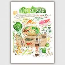 recette de cuisine vietnamienne bo bun recette illustrée décor cuisine aquarelle grand format