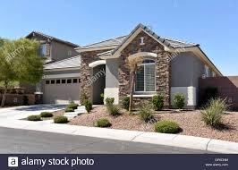 southwestern us contemporary home exterior front view stock photo