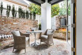 Herringbone Brick Patio Red Brick Patio With Outdoor Tv Over Fire Pit Transitional