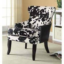 Black And White Accent Chair Coaster Cowhide Print Accent Chair In Black And White Ebay