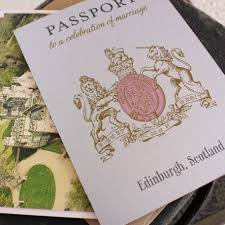 scotland crest passport wedding invitation edinburgh scotland