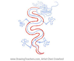 drawn chinese dragon trace pencil color drawn chinese