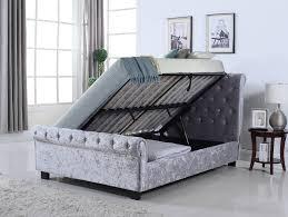 Velvet Bed Frame Whitford Side Ottoman Silver Crushed Velvet Bed Frame