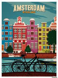 travel posters images Amsterdam netherlands art print travel poster vintage poster canvas jpg