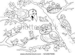 cute forest animals forest birds crow stock illustration 524807896