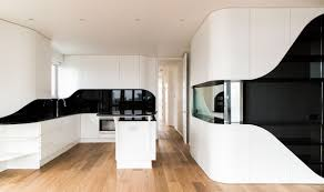 kitchen futuristic black and white kitchen features angled white